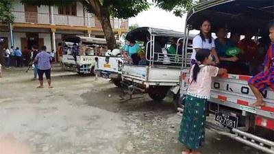 မြစ်ကြီးနားမြို့နယ် စီတာပူ စစ်ဘေးဒုက္ခသည်စခန်းမှာ ခိုလှုံနေရတဲ့ ဒုက္ခသည် ၆၀ ကို ဝိုင်းမှော်မြို့နယ် ရွှေညောင်ပင်ရွာကို ၂၀၂၀၊ ဇူလိုင် ၄ ရက်နေ့က ပြန်လည်ပို့ဆောင်စဉ်