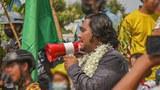 စစ်ကိုင်းတိုင်း၊ မုံရွာမြို့က စစ်အာဏာရှင်ဆန့်ကျင်ရေး သပိတ်ခေါင်းဆောင် ကျောင်းသား ကိုဝေမိုးနိုင် ကို တွေ့ရစဉ်