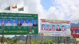 ဘားအံမြို့က ၂ဝ၂ဝ ရွေးကောက်ပွဲ မဲဆွယ်ဆိုင်းဘုတ်များ။