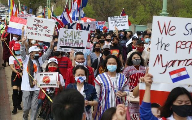 ဝါရှင်တန်ဒီစီမှာ မြန်မာတိုင်းရင်းသားထောင်ချီဆန္ဒပြ