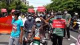 မန္တလေးမြို့ မှာ ၂၀၂၁၊  မေ ၁၃ ရက်နေ့မှာ တကသ ကျောင်းသားတွေဟာ စစ်အာဏာရှင်ဆန့်ကျင်ရေးအတွက် ပြောက်ကျားသပိတ် ပြုလုပ်ခဲ့ကြစဉ်