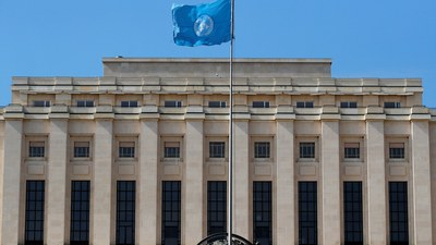 ဂျီနီဗာမှာ လွှင့်တင်ထားတဲ့ ကုလသမဂ္ဂအလံ။