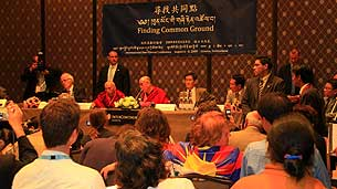 达赖喇嘛在瑞士出席全球汉藏研讨会。(粤语部海蓝)