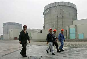浙江杭州附近的秦山核电站的核反应堆。(法新社2005年图片)