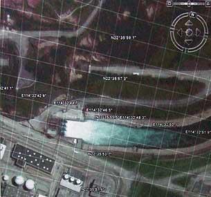 卫星图片显示大亚湾核电站二号机组及其附近的排水情况。(消息人士提供)