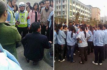 2012年3月27日,深圳裕霸厂工人罢工进入第六天。厂方试图把偷取员工打卡机的小偷带走,但被罢工工人召唤警员到场阻止。(员工游先生提供)