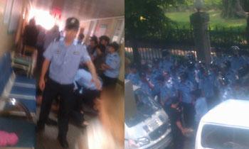 事发当日(5月27日),大批警察接报到场后没有进入医院,数名保安对家属进行围殴。(欧忠勇 提供)