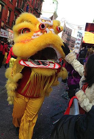 纽约华埠2013年新春醒狮贺岁。(粤语部潘家晴拍摄)