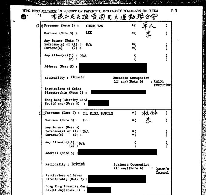 翻查支聯會首任董事名冊可以見到民主派元老李卓人和李柱銘等人的名字。(資料文件)