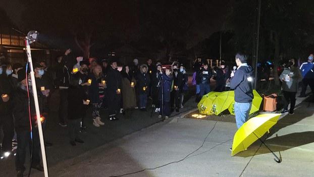 许智峯在当地出席「六四」悼念活动。(受访者提供)