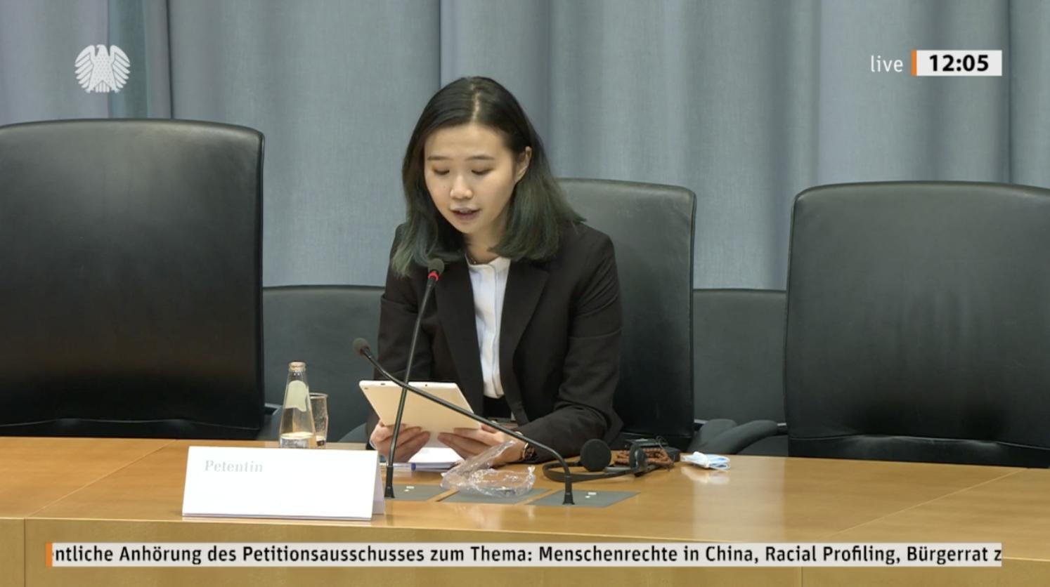 鄺頌晴出席德國聯邦議會聽證會。(受訪者提供)