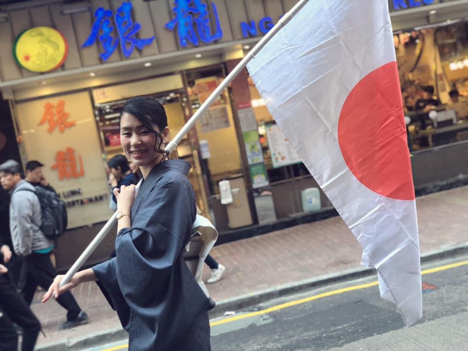 「日本反送中第一人」模特兒平野鈴子去年曾赴香港支持反送中運動。(受訪者提供)