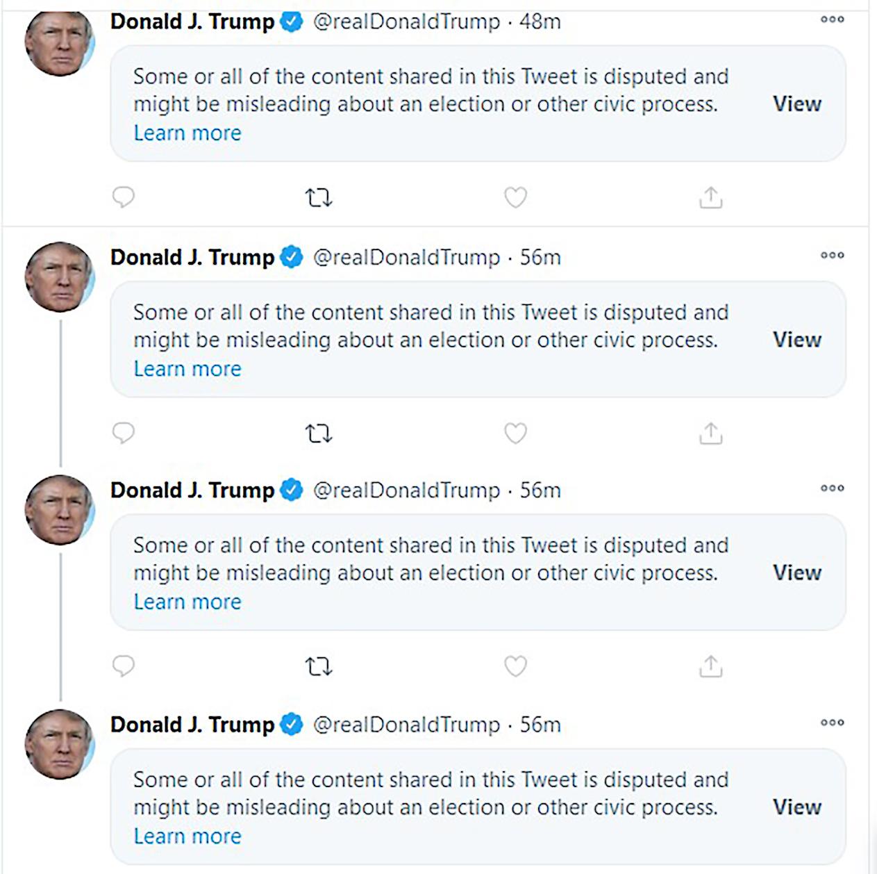 2020年11月7日,美國總統特朗普(川普)在其個人推特上發表的多則推文,被指涉及選舉有關的誤導內容,被推特方面打上標識及予以隱藏。(法新社)