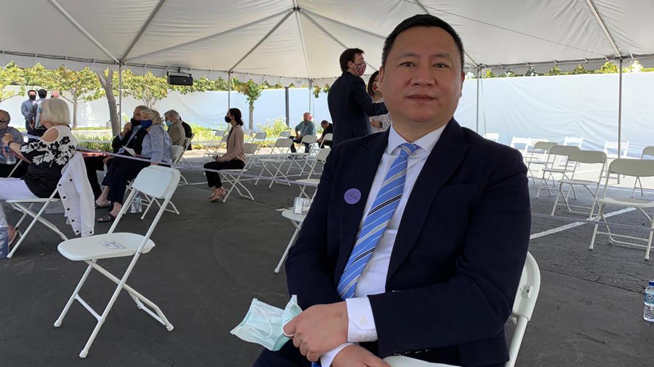 王丹对本台说蓬佩奥提出对他掌声致敬,其实是代表美国对八九天安门运动参与者的致敬。(黄慈萍提供)