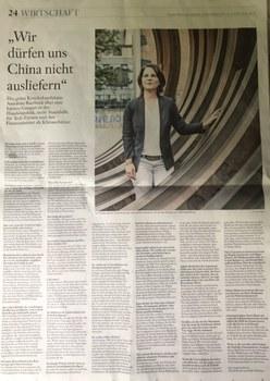 德國綠黨推出的總理候選人貝爾博克(Annalena Baerbock),日前接受德媒採訪認為應該採取強硬的對華貿易政策。 (德國前外交官魯格推特圖片)