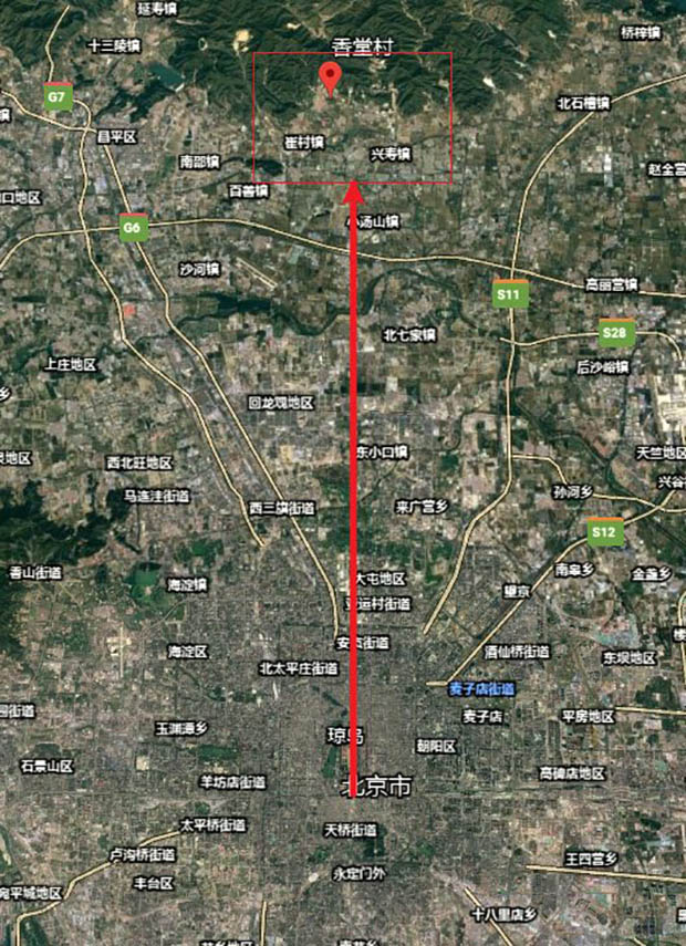 中共中央黨校蔡霞曝出,北京香堂村遭強拆,是因習近平聽信風水師說法,認為這裡的房屋壓住龍脈,網友在地圖上尋找聯繫。(網絡圖片)