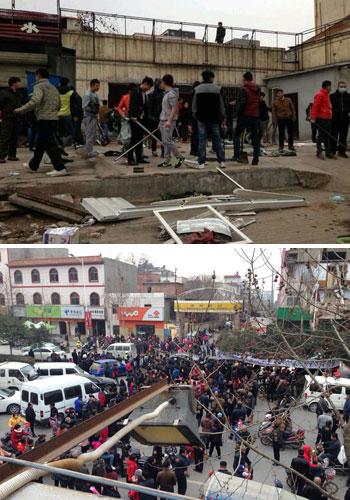 上图:郑州市惠济区当局派来的拆迁人员手持棍棒。下图:大批老鸦陈村的村民来到强拆现场阻止,交通严重瘫痪。(村民拍摄)