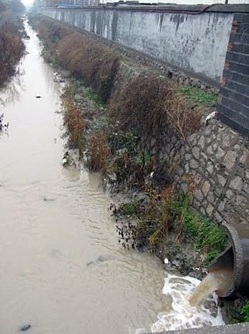 山东省淄博市金岭镇因化工厂违法把未经处理的污水直接排进河内,污染村民的饮用水源。(相片由村民周先生提供)
