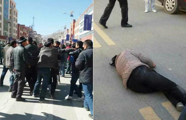 2014年11月3日,大批便衣及武警到場驅散示威村民。村民指,警方抓走廿多名村民,有女村民被打傷倒地。(照片由維權人士提供)