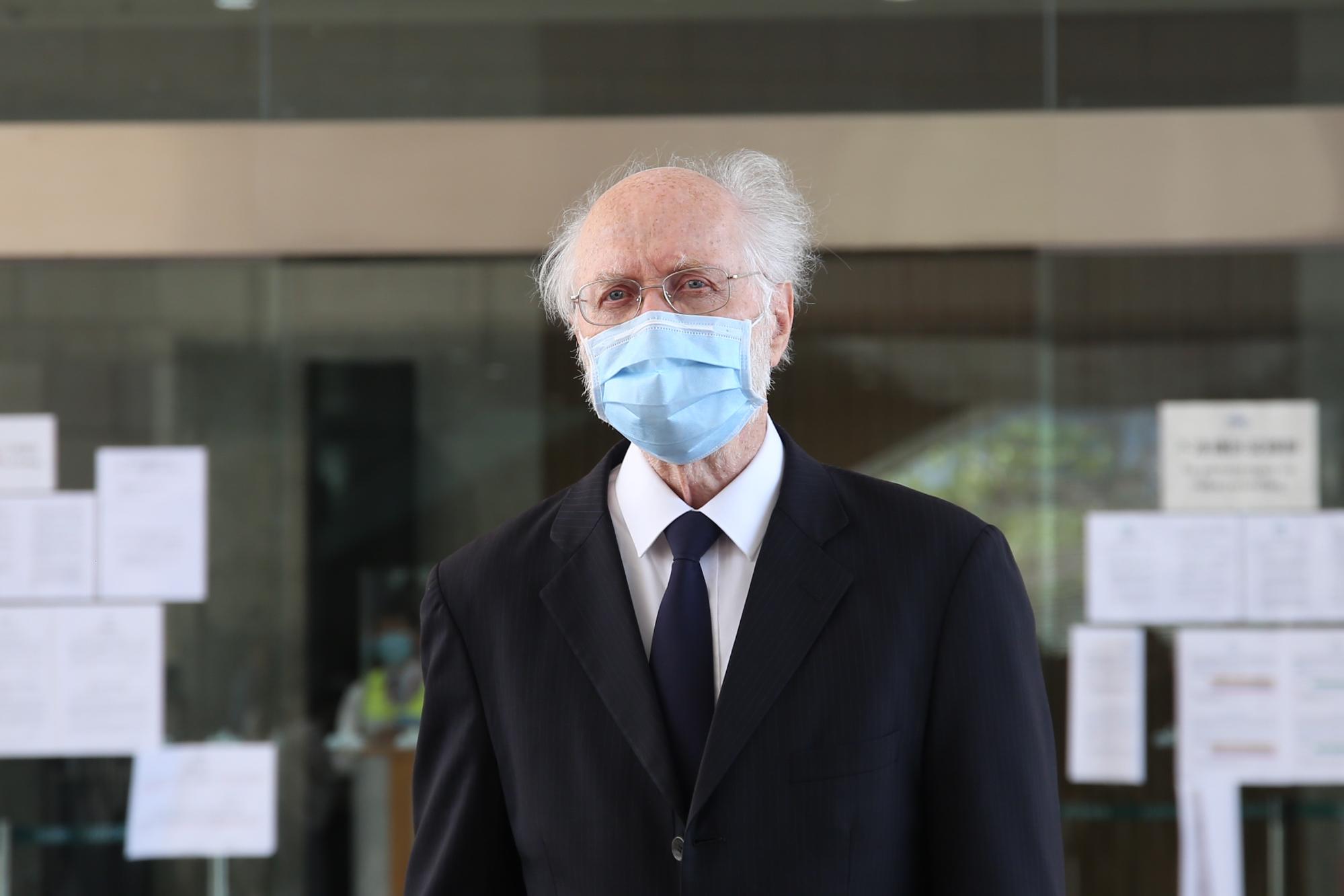之前曾被捕,但未被起诉的美国籍律师关尚义也有前来声援。(张展豪 摄)