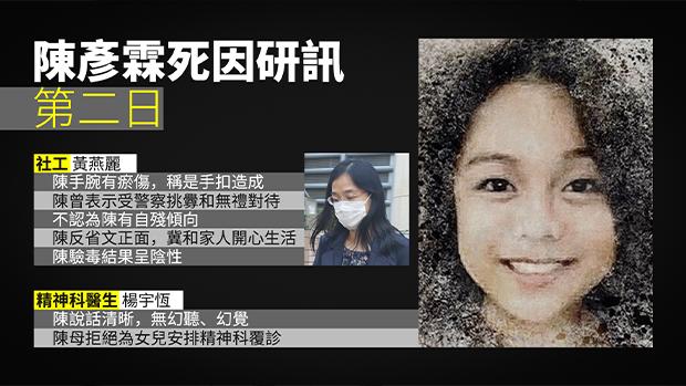 15岁少女陈彦霖死因研讯继续 社工不认为有自残倾向 曾称遭警察无礼对待