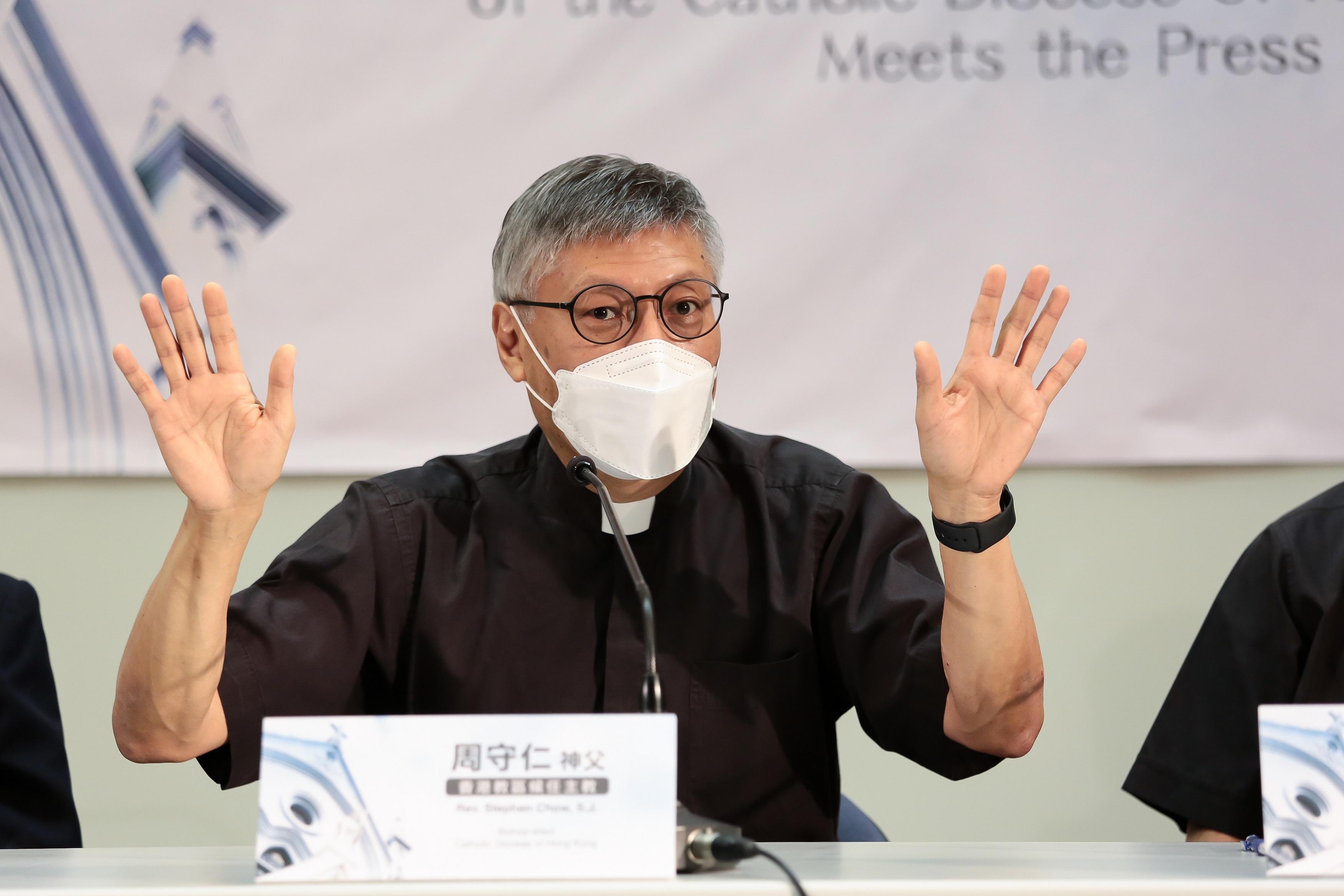 候任香港教區主教周守仁稱,基於服從教宗才接受任命為主教。(張展豪 攝)