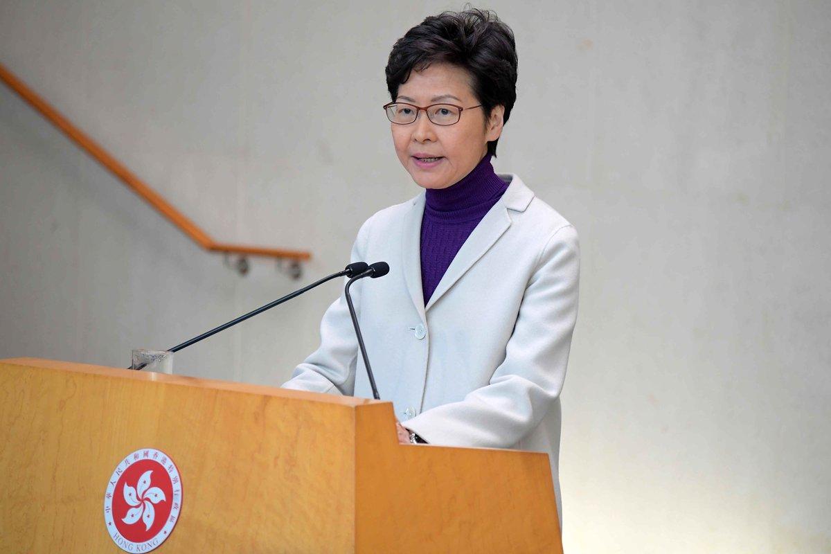 2019年12月3日,特首林鄭月娥譴責示威者在過去周末的激進行為,強調警方是以適當武力驅散示威者。(香港政府新聞網圖片)