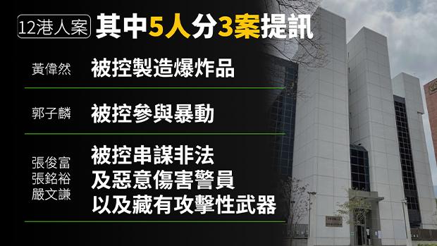 【12港人】其中5人分三案提讯 案件押后至下月再审