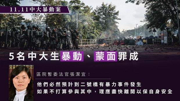 【中大衝突】5名中大生暴動、蒙面罪成 官:如不打算參與理應盡快離開