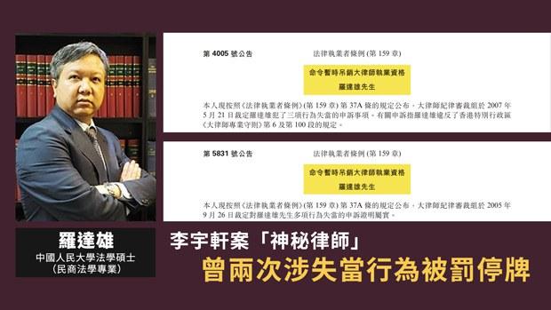 【独家】李宇轩案「神秘律师」曾两次涉失当行为被停牌
