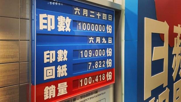 香港《苹果日报》将在周四(24日)发行最后一份实体报纸,印数锁定100万份。
