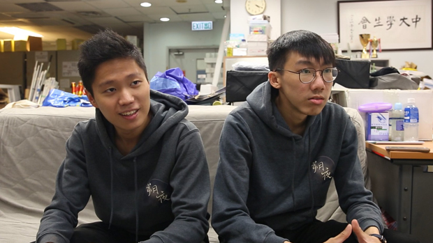 香港中大学生会前会长林睿睎(左),担心校园举报风气愈来愈严重。(张展豪 摄 / 资料图片)