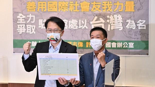 立委提出台灣駐外辦正名行動推向全球化 最終以台灣名義加入聯合國