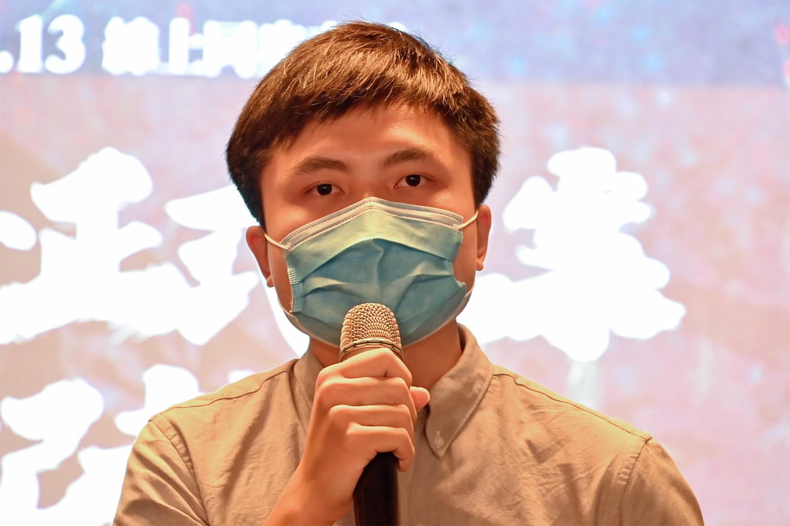 2021年9月13日,「香港邊城青年」理事長江旻諺:不要對中國自動走向民主化存有幻想。(鍾廣政 攝)