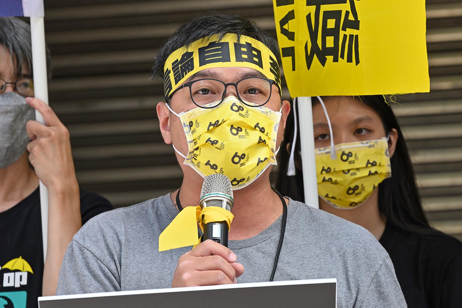2021年8月30日,台湾人权促进会秘书长施逸翔:陆委会应建立中港澳的人权示警机制。(锺广政 摄)