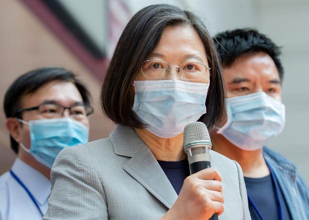 2020年9月4日,台湾总统蔡英文:以中国制造不合格口罩混充台湾口罩出售,是不可原谅的事情。(台湾总统府提供)