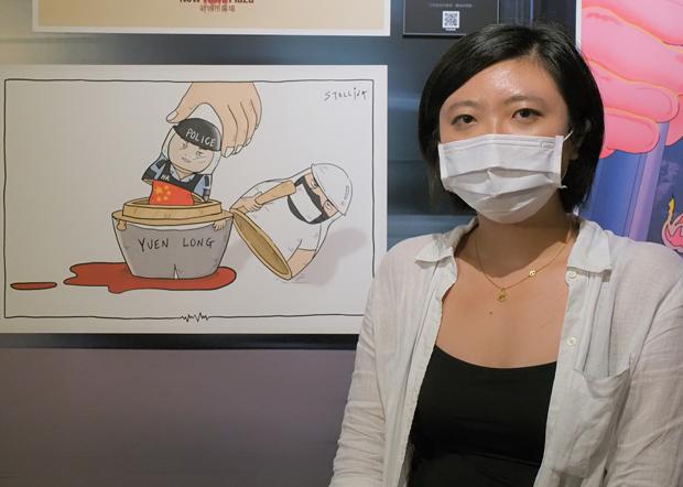 2020年6月24日,政治漫畫作者Stellina Chen:作品表達元朗事件幕後黑手就是中國政府。(鍾廣政 攝)