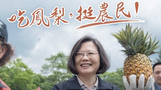 2021年2月25日,台灣總統蔡英文在臉書上呼籲民眾一起吃鳳梨(菠蘿)以支持台灣農民。
