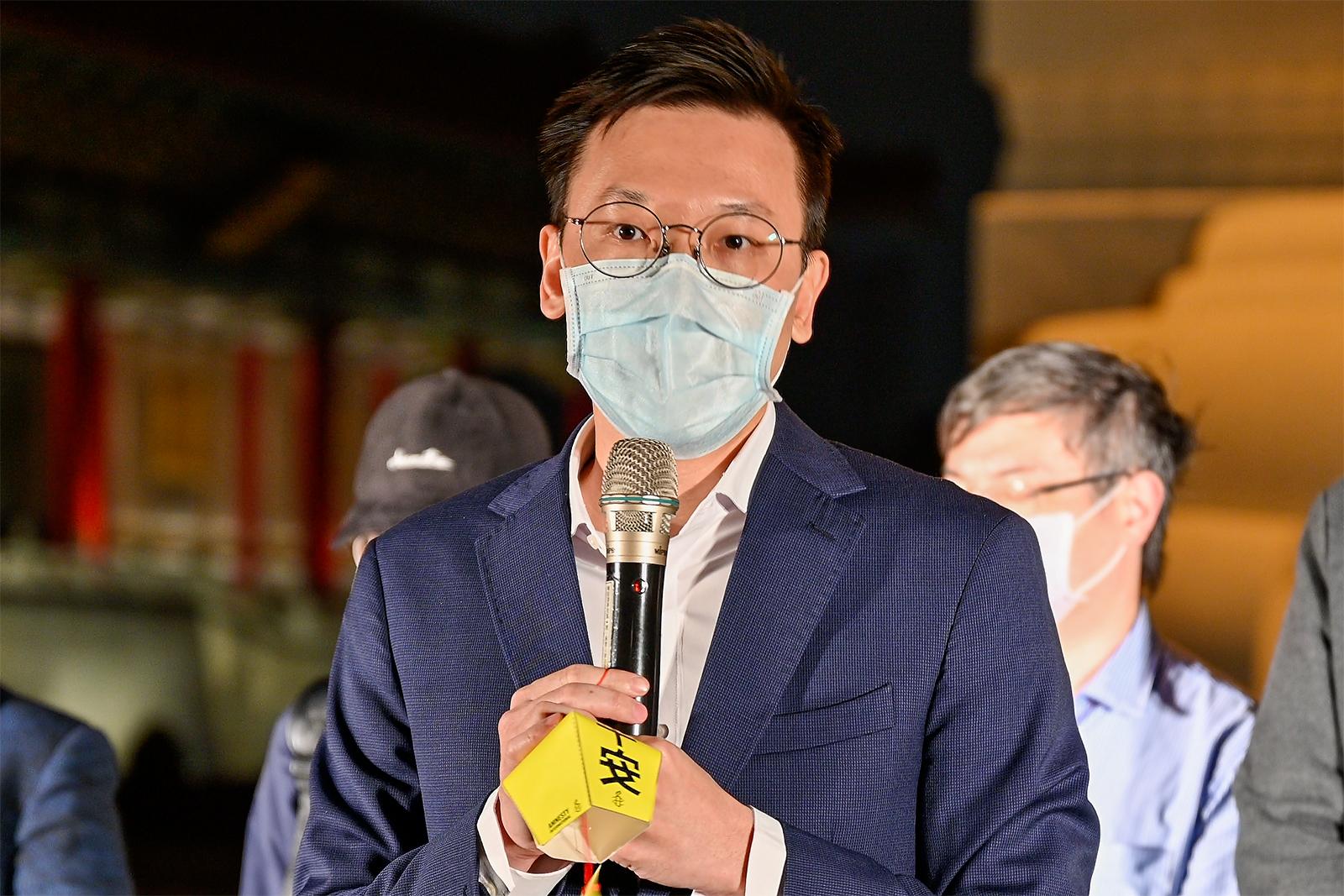 2021年2月8日,民进党副秘书长林飞帆:希望政府能和民间团体合作拯救受中国迫害人士。(锺广政 摄)