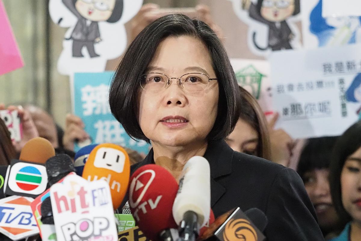 2019年11月19日,台灣總統蔡英文:中國派航母穿越台灣海峽,目的是要干預總統大選。(鍾廣政 攝)