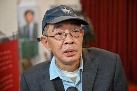 2021年1月6日,台灣銅鑼灣書店店長林榮基:大抓捕釋放出以後在香港投反對票可能觸犯國安法的訊息。(鍾廣政攝)