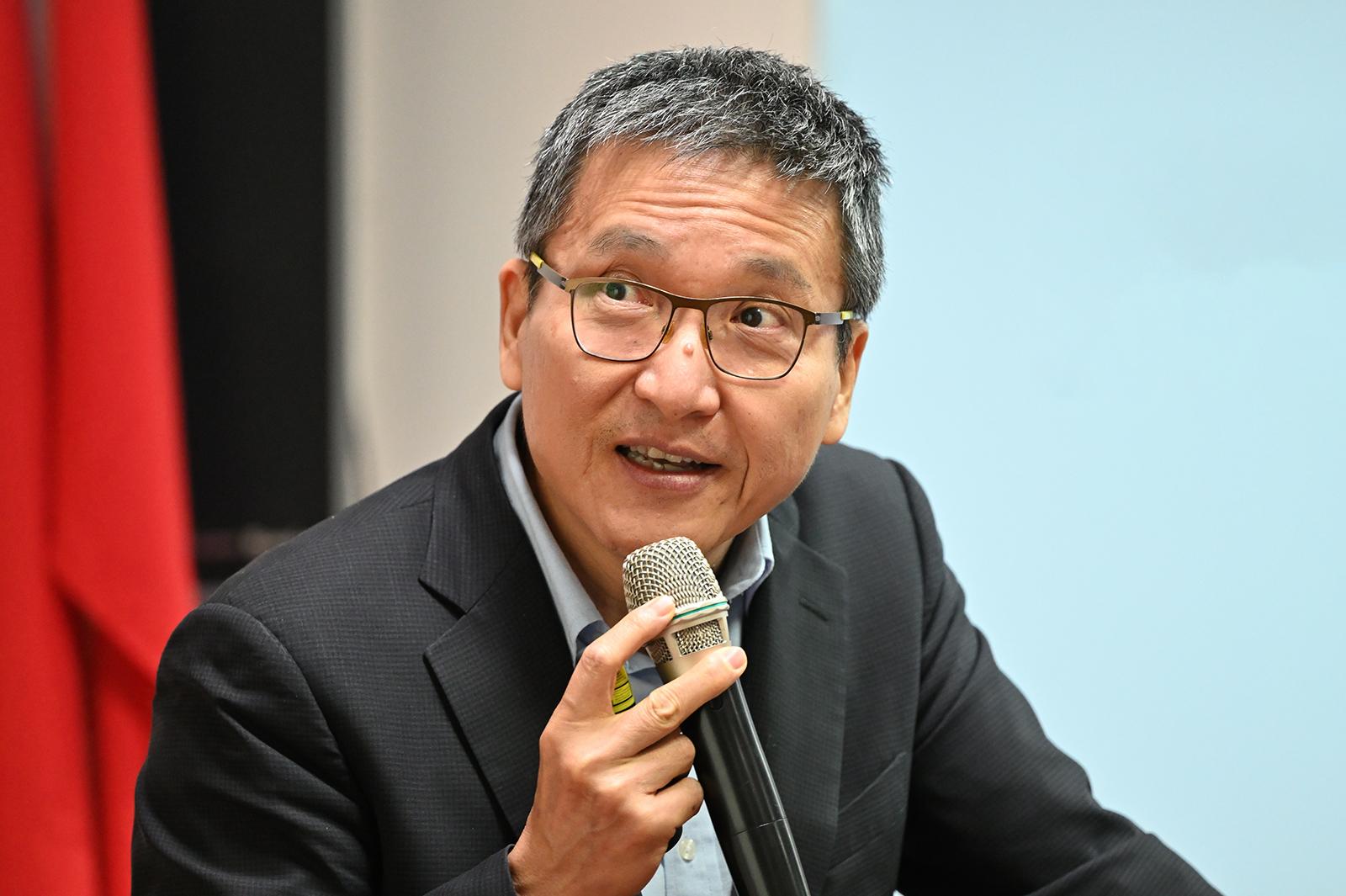 2021年3月8日,淡江大學教授張五岳:北京對台將堅持一中反獨、一中促融、一中促統三原則。(鍾廣政 攝)