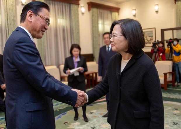 2020年1月17日,总统蔡英文:希望加强美日全面合作夥伴关系。(总统府提供)