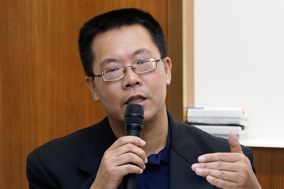 2020年1月20日,旅美中国人权律师滕彪︰中国迫害人权行为,正向全世界输出。(锺广政 摄)