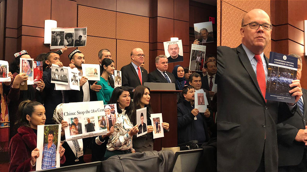 圖左︰近五十名維吾爾人手持在中國失蹤親人的照片出席了發布會,要求美國政府和國會幫助,尋找親人下落;圖右︰報告更首次以香港「反送中」遊行示威照片為摘要報告的封面。(潘加晴 攝)
