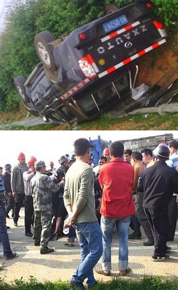 3月25日,广东省白沙镇派逾百人员入村强占土地,与护地村民发生肢体冲突。冲突期间,两部公务车被人打砸掀翻。(村民提供)