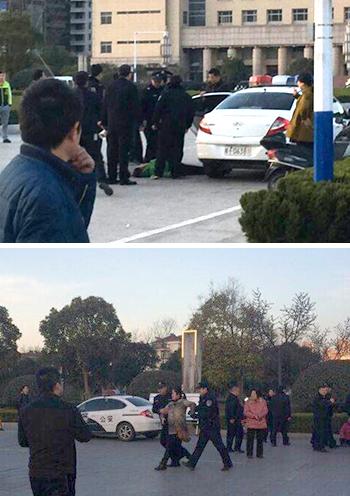 2015年3月3日,当局派来百多特警到场武力驱散,把业主带走到派出所。(业主提供)
