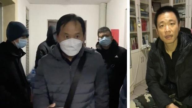 2020年12月9日,北京石景山國保(右)強行進入許豔家中和山東濟南國保闖入王全璋和李文足家門,通知他們被限制外出。(李文足、許豔提供)