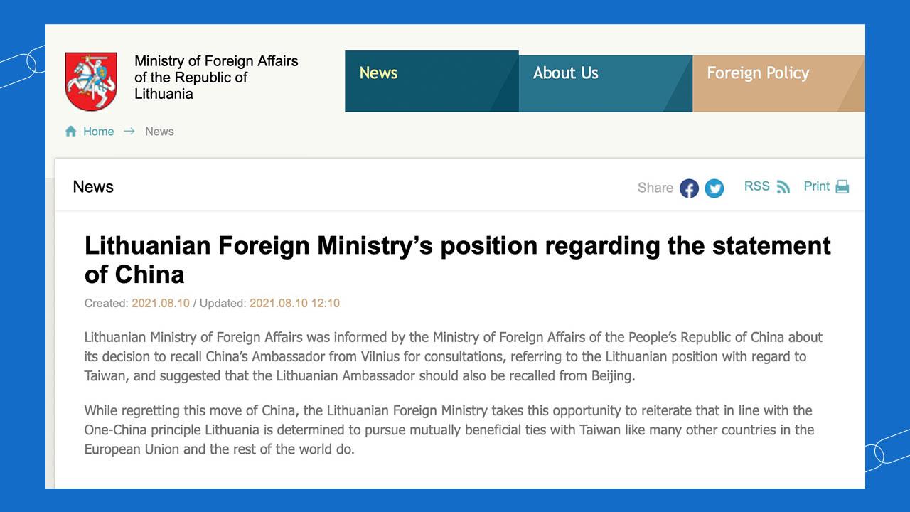 立陶宛外交部回應,對中國外交部決定表示遺憾,重申決心如世界其他國家一樣在一中原則下謀求與台灣的互惠關係。(立陶宛外交部官網截圖)