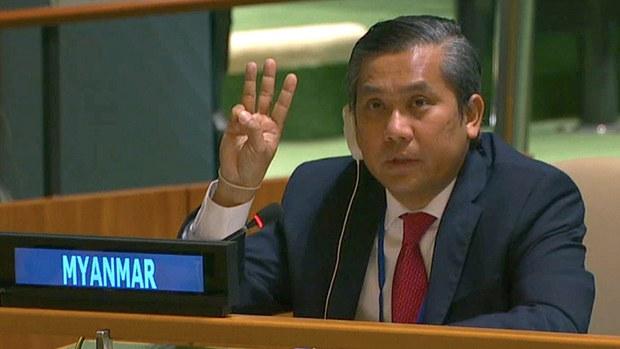缅甸大使联合国大会举三指反独裁   中国称与各方接触缓和局势